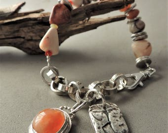Artisan Jewelry, Opal and Silver Bracelet, Mexican Fire Opals, Southwestern Jewelry, Handmade Silver Chain, Rustic Jewelry, Urban Chic