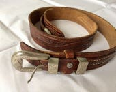 SALE, VINTAGE Western Belt, Genuine leather, Tooled leather, Cowboy style, Leather belt, Small belt, Brown leather belt