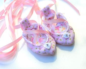 BALLERINA Baby Ballet Shoes - Newborn Ballet Shoes - Baby Ballerina - Newborn  Ballet Slippers - floral ballet shoes - newborn photo props
