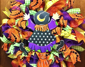 SALE & FREE SHIPPING Halloween Fall Witch Riding Broom Goes Splat - Welcome Door Wreath