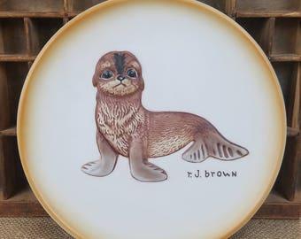 "Vintage Roger Brown ""AKIKU"" The Seal Pup collector #4081 plate 1979 ceramic"