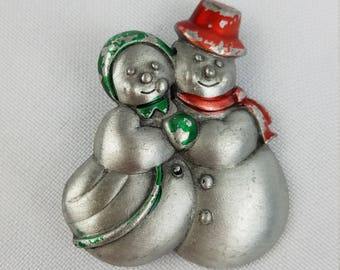 Vtg JJ Jonette Christmas holiday snowman couple brooch pin signed collectible
