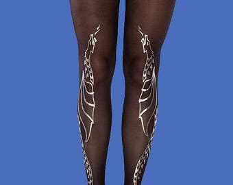 Silver dragons tights, women tights, burning man costume, available in S-M, L-XL