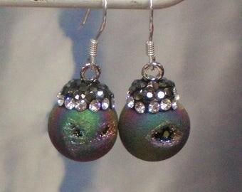 Earrings of Druzy Agates