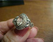 Herkimer Diamond ring in fancy 925 mounting - tested- naturally faceted size 8