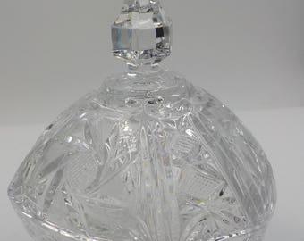 Vintage Footed  Ornate Crystal Dish - Candy Dish - Lidded - Shabby Chic - 1950 Era - Cut Crystal