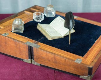 Antique Writing Box - Campaign Desk, Writing Slope