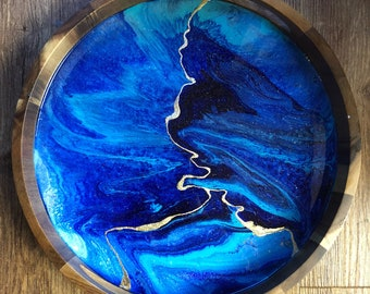 Aqua and Gold Resin and Wood Tray with Gold Leaf