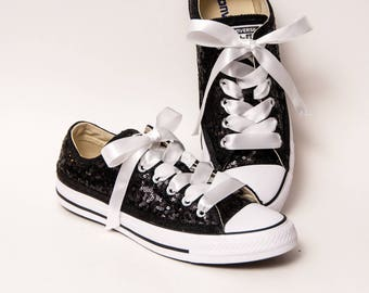 Tiny Sequin - Starlight Black Canvas Low Top Sneakers Shoes with White Satin Ribbon Laces