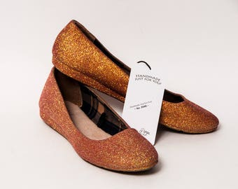 Clearance   Size 8   Glitter Peach Iris Ballet Flats Slippers Shoes