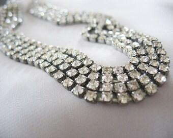 "Rhinestone Choker Necklace, 4 strands, 1950's, Glamorous, Sparkling White, Silvertone, Hook closure, 1/2"" wide"