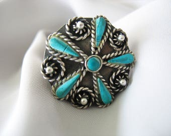 Mexican Turquoise and Silver Ring, Flower, Sits High, Size 9, Vintage 1970s, Blackened Patina, Statement Ring