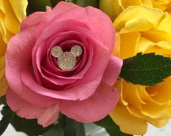 FREE SHIP 12 Disney Wedding Bouquet Flower Pins Hidden Mouse Ears  Bouquets Crystal Clear or Choose Color
