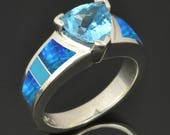 Custom Turquoise, Lab Created Opal and Topaz Engagement Ring for Benjamin