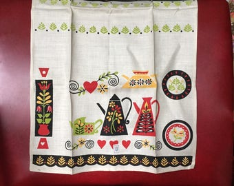 Vintage Belgian Linen Tea Towel with Tag - Swedish Rosemaling Coffee Pot, Flower and more