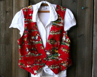 Vintage Kitschy Western Cowboy Vest In Red Stage Coaches Horse 1980s Vintage From Nowvintage on Etsy