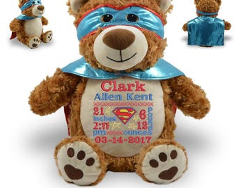 Bear Stuffed Animal, Personalized Birth Announcement, Plush Hero Bear, Super Hero Bear Toy