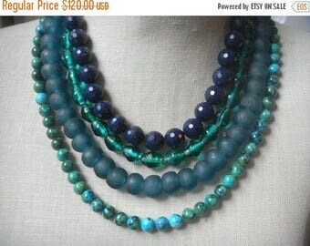 XMAS in JULY SALE Blue Shades Multi Strand Beaded Statement Necklace , Layered Beads