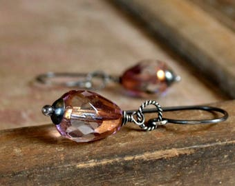 Bridal earrings, glass and sterling silver earrings, soft pink - Lucidity
