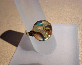Abalone Shell Ring, Iridescent Vintage Round on Adjustable Gold Tone Metal Ring Base, Organic Gemstone, Serenity Stone, Communication Stone