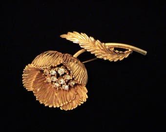 Vintage TRIFARI Rhinestone Flower Brooch