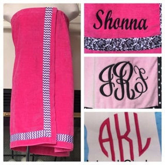 Spa Wrap Personalized Plus Size Womens Hot Pink Towel Wrap With Accent Ribbon-FREE SHIPPING