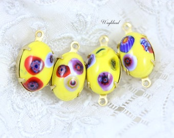 Yellow Millefiori Vintage Glass Oval Set Stones Spain 14x10mm Charms Drops Connectors Brass Settings - 2