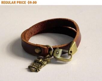 Brown Leather Charm Bracelet Leather Wrap Bracelet Leather Cuff with Metal Bronze Tone Owe Charm