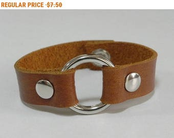 Simple Tan Leather Cuff Bracelet Leather Bracelet with Metal O Ring Silver Tone