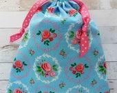 Cottage Chic Bag Drawstring Gift Bag Retro Roses Pink Roses Frames Makeup Bag Planner Storage Toiletries Blue Bag Floral Fabric