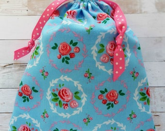 Cottage Chic Bag Drawstring Gift Bag Retro Roses Pouch Pink Roses Frames Makeup Bag Planner Storage Toiletries Blue Bag Floral Fabric
