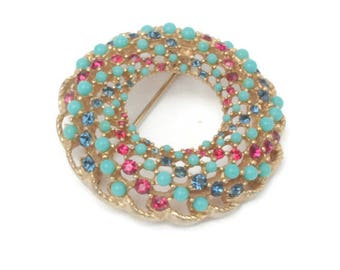 Swirl Circle Pin Turquoise Beads Red Blue Rhinestones Swirl Brooch Vintage