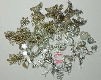 CLOSEOUT SALE  100 Mixed Brass, Silver Charms and Connectors, Spiritcatdesigns, Liquidation Sale