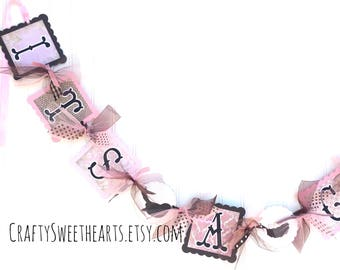 It's a Girl Banner Baby Shower Decoration Pink Brown Bird Nest Theme Shabby Cottage Chic