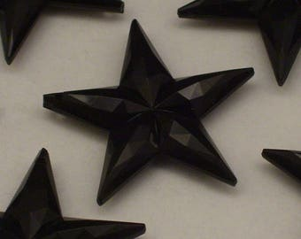 RESERVED FOR THERESA ~~ Black Vintage Lucite Star Pendants