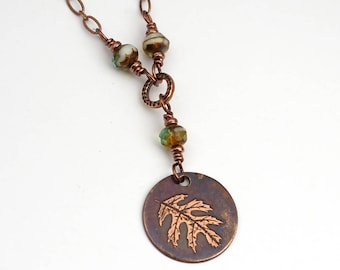 """Etched copper oak leaf necklace with green glass beads, simple jewelry, etched copper, 18 1/4"""" long"""