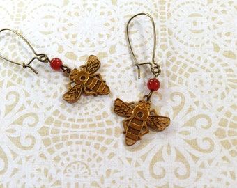 Super Brass Bee Earrings