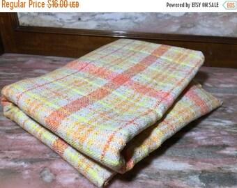 Christmas Sale 1 Yard Plaid Woven Fabric Orange, Yellow, Tan Vintage Yardage Medium Weight