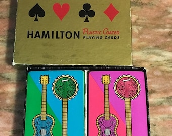 Christmas Sale Vintage Playing Cards 1960s GUITAR BANJO Hamilton Double Deck Pink Green