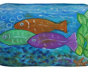 Tropical fish bubbles coastal design kitchen or bathmat from my art