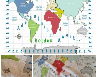 World Map Blanket Etsy - World map blanket