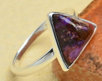 Triangle Sterling Silver and Purple Copper Turquoise Ring Size 7 1/2