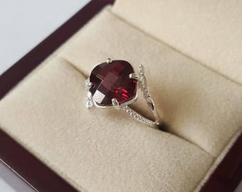 Sterling Silver Checkerboard Faceted Garnet Ring Size 7