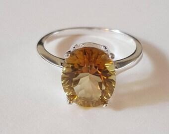 Sterling Silver Yellow Topaz Gemstone Ring Size 6 1/2