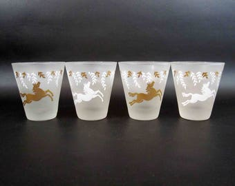 Vintage Libbey Frosted Horse Rocks Glasses Set of 4. Circa 1950's.