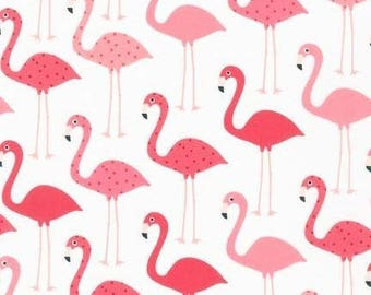 Remnant end of bolt 21 inches Robert Kaufman Fabric Urban Zoologie Flamingos White