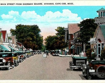 Antique Cape Cod Postcard - West Main Street from Sherman Square, Hyannis (Unused)