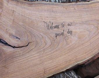 Guest Book LOG, Guest Book Alternative, Large Tree Slab Guest Book, extra large wood log, laser engraved, extra large wedding guest book