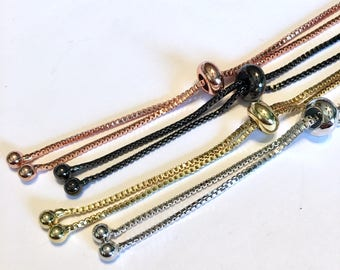 Bracelet making box chain with slider clasp base 4 colors to choose from make a BOLO bracelet ball end