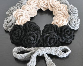 Rose Wreath - Beige Gray Black - Crochet Multicolor Rose Scarf
